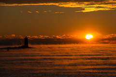 Sunrise, Sea Smoke, and Whaleback Lighthouse - SOOC -- EXPLORED!!! photo by KAM918