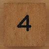 Wooden Cube Black Number 4