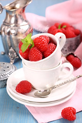 Ripe fresh raspberry with mint in white cup photo by Iryna Melnyk