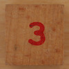 Wooden Cube Red Number 3