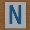 TESCO Hangman blue letter N