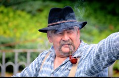 Paysan à la pipe, farmer with his pipe, Altaburafascht 2014, Bernwiller, Sundgau, Alsace. photo by Olivier Simard Photographie
