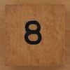 Wooden Cube Black Number 8