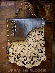 Leather boho festival bag with vintage crochet lace and antique brass key.  Each one is different! photo by UrbanHeirlooms