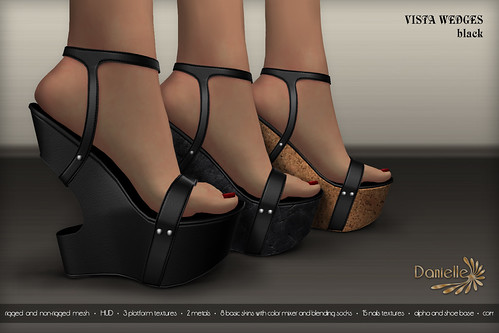DANIELLE Vista Wedges Black