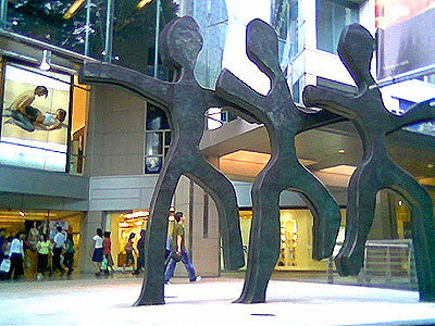 Three metal sculptures