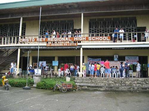 Makeshift hospital at a high school