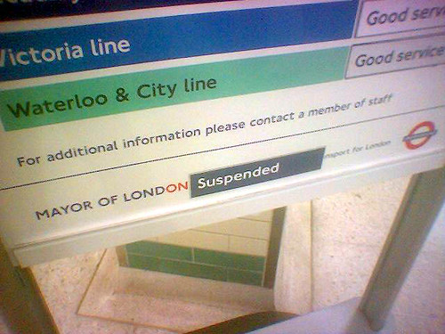 Mayor Suspended sign seen at Russell Square Tube Station