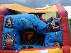 Son on a bouncy-castle