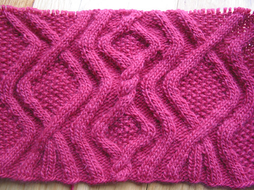 Deep Rose Cabled Beauty - in progress