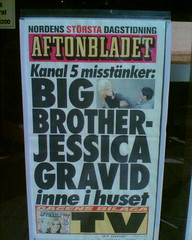 Aftonbladets löpsedel - Big Brother-Jessica gravid ine i tv-huset