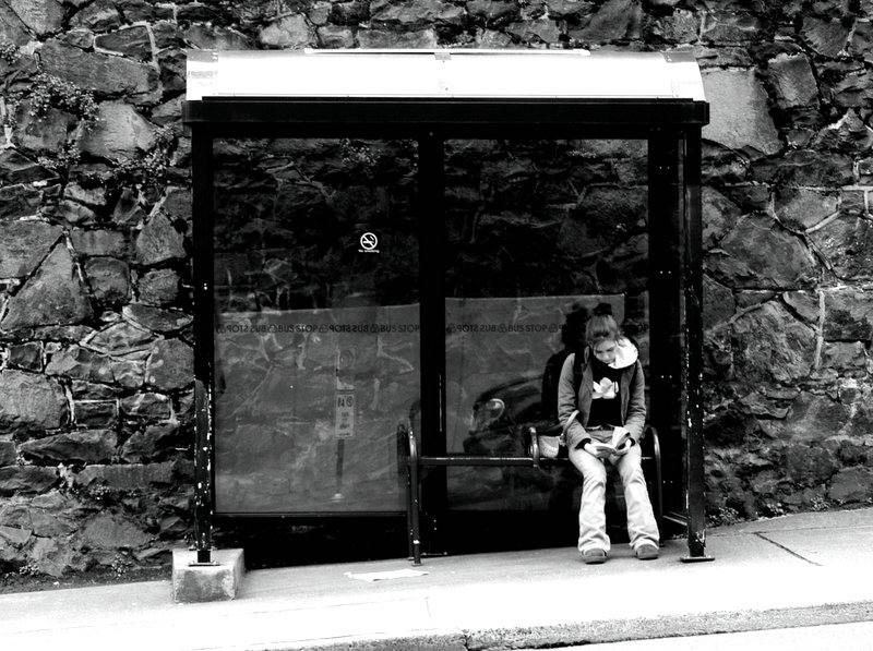 Girl at Bus Shelter
