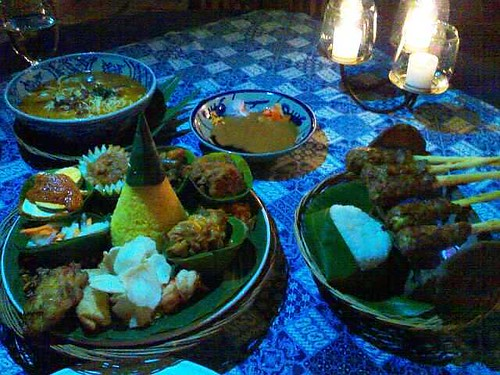 From left: mei selera pedas, nasi kuning, and sate lilit kambing