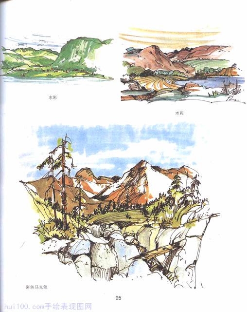 国外马克笔水彩人物,车辆,植物,山石画法教程 手绘100