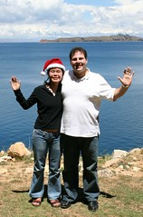 Soyan and Jonathan at Lake Titicaca