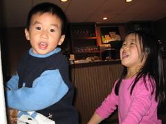 Zachary and Katie screaming carols