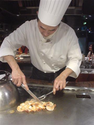 Slicing up shrimp