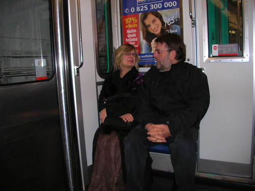 mom and dad ride the metro
