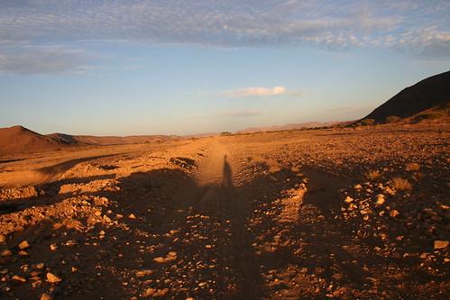 Setting sun in (what felt like) the middle of nowhere. Hammada / stony desert in Morocco's south-east corner