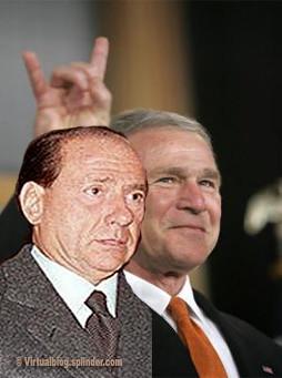 Berlusconi e le corna di Bush