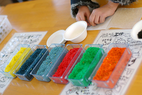 colorful pellet handicraft