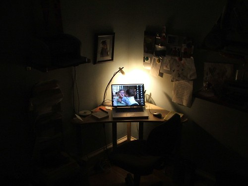office in the dark