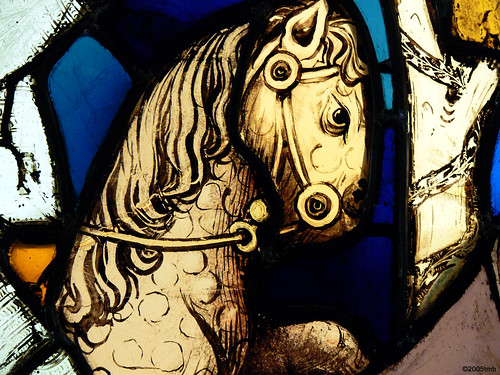 devil on horseback: stained glass detail