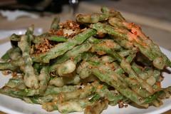 Deep fried long green beans