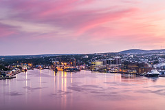 St. John's harbour, waterfront and downtown under sunset photo by tuanland