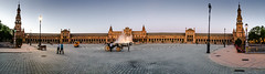 Panoramic view of Plaza de España - Seville Spain at Night photo by mbell1975