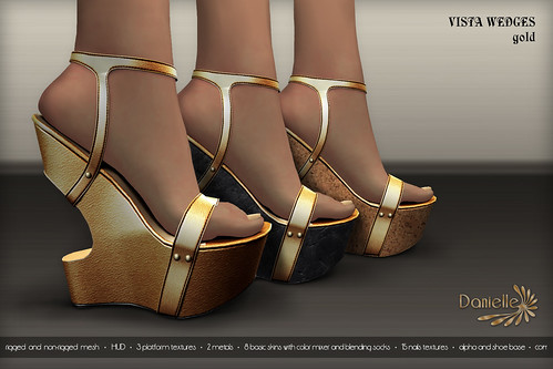 DANIELLE Vista Wedges Gold