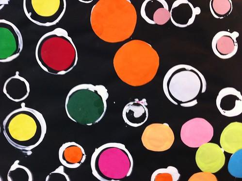ronds empreintes et collage