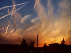 Cirrus clouds with contrails at sunset photo by STEHOUWER AND RECIO