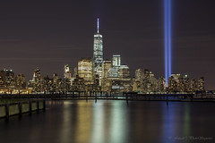 Manhattan - downtown with 9/11 lights photo by Photosequence