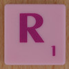 Scrabble pink tile letter R
