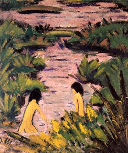 Mueller - Deux baigneuses dans la rivière ..