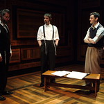 Jeff Still (Reb Saunders), Nicholas Cimino (Danny Saunders), Jürgen Hooper (Young Reuven Malter) and Sean Fortunato (Reuven Malter) in THE CHOSEN at Writers Theatre. Photo by Michael Brosilow.