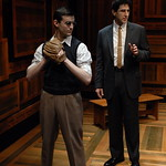 Jürgen Hooper (Young Reuven Malter) and Sean Fortunato (Reuven Malter) in THE CHOSEN at Writers Theatre. Photo by Michael Brosilow.