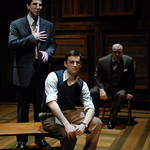 Sean Fortunato (Reuven Malter), Jürgen Hooper (Young Reuven Malter) and Craig Spidle (David Malter) in THE CHOSEN at Writers Theatre. Photo by Michael Brosilow.