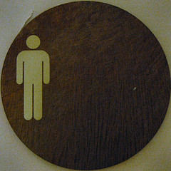 squared circle - sign - men's room