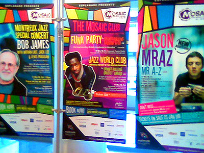 Colorful banners inside Esplanade theatre and museum