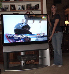 Marissa with new big screen tv