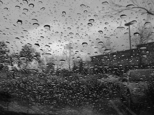 Rain on window.