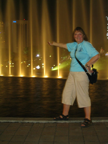 Mom at KLCC Fountain