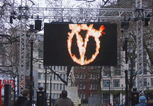 V for Vendetta in Leicester Square