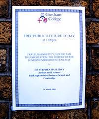 London Underground Lecture Notice