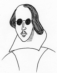 drawing of Shakespeare in sunglasses
