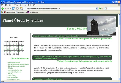 planetubeda, agregador de blogs ubetenses, vistos en firefox 2.0 alpha