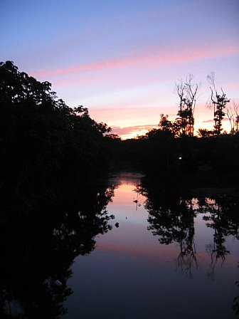Sunset at Overbridge Resort in Suriname