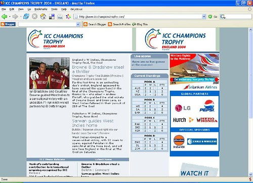 Screenshot of www.iccchampionstrophy.com on April 5, 2006